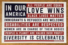 This morning I wrote a post about the beautiful #inouramerica signs and stickers our NWGSDPDX group printed where you can buy them and linked over to the flag files they've put up to freely download and print to spread their message of inclusivity respect and love. (Post is at the link in my @westcoastcrafty profile!) Today was a hard day for me but this statement is powerful and true and it's what I want to live by. I got to see our congressman Earl Blumenauer speak this afternoon and he…
