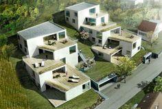 Architecture Concept Drawings, Landscape Architecture Design, Green Architecture, Social Housing Architecture, Masterplan Architecture, Facade Design, House Design, Terrace House Exterior, Haus Am Hang