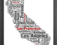 California State Typography Print, Major Cities and Places, Personalized Colored City Name, Home Wall Decor, Perfect gift - 8.3 x 11.7in(A4)