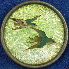 Gin-Bari Cloisonne Enamel Birds Button.