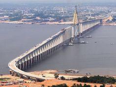 Ponte Rio Negro Iranduba Manaus durante a construção