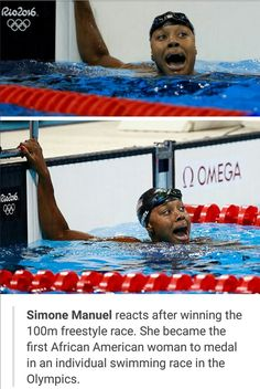 Simone Manuel - the first black female gold medalist swimmer usa