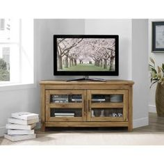 Walker Edison Furniture Company 44 in. Wood Corner TV Media Stand Storage Console - Barnwood-HDQ44CCRBW - The Home Depot