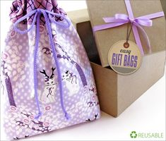 Gift Bag with Eyelet Drawstring Top | Sew4Home