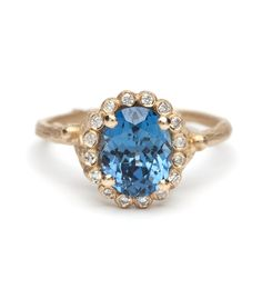 Dewdrops in the Garden - Natural Blue Oval Sapphire Ring