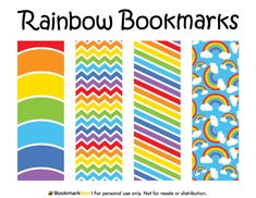 Free printable rainbow bookmarks. Download the PDF template at http://bookmarkbee.com/bookmark/rainbow/