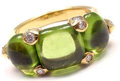 New! Authentic Pomellato Sassi 18k Yellow Gold Diamond Peridot Ring Box/Paper #Pomellato