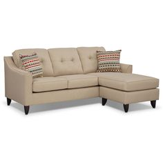 Simply Stylish. Sit back, relax and sink into the comfortable Marco II chaise sofa. Upholstered with gorgeous cream polyester to preserve color and prevent wear and tear, it's made to leave a lasting impression. The comfortable chaise features a movable base, so it can be switched to either side of the sofa to best fit your space. Complete the look with the included decorative accent pillows.