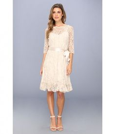 Jessica howard 3 4 sleeve lace pintuck with ribbon belt taupe apparel