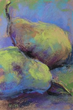Pear Study 4x6 pastel, painting by artist Karen Margulis