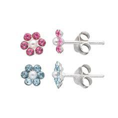 Charming Girl Kids' Sterling Silver Crystal Flower Stud Earring Set, Pink