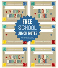 Free Printable Lunch Notes for Back to School!! #freeprintable #school