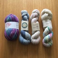 I've been sorting out the yarn for my Christmas knitting 😀 I need to wind these up quickly as now that my son is back from Uni I've lost my winding table to his computer. The yarn from left to right is from @stylecraftyarns @bryonybears and the two on the right are both from @hedgerowyarns #yarnaddict #knitting