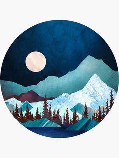 'Moon Bay' Sticker by spacefrogdesign Vinyl Record Art, Vinyl Art, Images Kawaii, Art Sketches, Art Drawings, Cd Art, Circle Art, Art Inspo, Watercolor Art