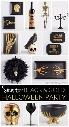 Terrify your Guests with a Sinister Black and Gold Halloween Party @madeinaday for @worldmarket #worldmarket #ad #worldmarkettribe Black gold, skeleton, feather wreath, black wine glasses, gold skeleton