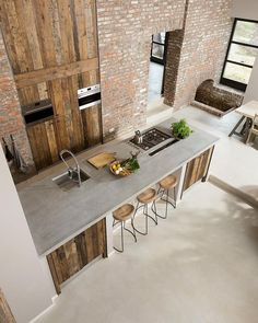 Exposed brick and reclaimed wood! This kitchen is designed by ÇA-VA! Interieur and is located in // Photo by Nicole Minneboo - Architecture and Home Decor - Bedroom - Bathroom - Kitchen And Living Room Interior Design Decorating Ideas - Beautiful Kitchen Designs, Contemporary Kitchen Design, Beautiful Kitchens, Cool Kitchens, Modern Kitchens, Rustic Contemporary, Modern Design, Barn Kitchen, Rustic Kitchen