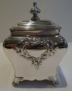 Antique English Silver Plated Tea Caddy by Walker Hall c1890-1900