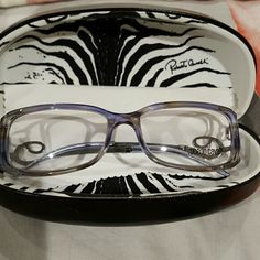 Eyeglass frame Beautiful Onice 412 755 54 15 125, made in Italy. Gunmetal grey metal initials, comfortable frame. Purple, blue grey tones. Roberto Cavalli Accessories Glasses