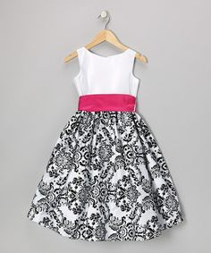 Fuchsia & Black Flocked Velvet Paisley Dress - Infant, Toddler & Girls