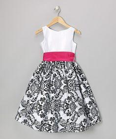 Fuchsia & Black Flocked Velvet Paisley Dress - Infant, Toddler & Girls