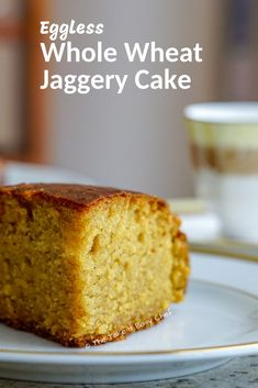 This whole wheat jaggery cake is a healthier take on the classic pound cake. This delightful cake is moist, light, and airy and a perfect companion for your evening tea! It is eggless as well. Eggless Desserts, Eggless Baking, Recipe For Eggless Cake, Eggless Recipes, Baking Recipes, Snack Recipes, Snacks, Healthy Cake Recipes, Fast Recipes
