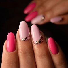 I love the combination of dark pink and light pink nails. The crystal stones really add to this look.
