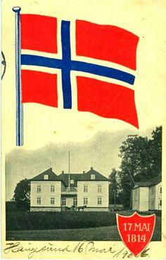 Eidsvollsbygningen midtnorsk flagg brukt i Haugesund 1906