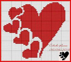 Hearts and hearts Butterfly Cross Stitch, Cross Stitch Heart, Cross Stitch Alphabet, Cross Stitch Flowers, Graph Crochet, Crochet Patterns, Disney Cross Stitch Patterns, Tapestry Crochet, Knitting Charts