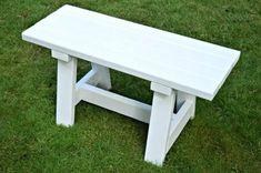 small white DIY farmhouse bench using 2x4 boards