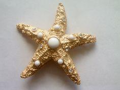 Large Starfish Brooch / Pin / Starfish Jewelry / Trifari Jewelry / Trifari Starfish / Trifari Brooch / Pin / Signed Jewelry / Free Shipping by TamJewelryandUniques on Etsy