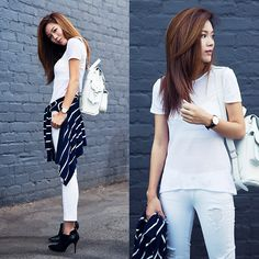 Get this look: http://lb.nu/look/6492000  More looks by Jenny Tsang: http://lb.nu/tsangtastic  Items in this look:  Heels, Paige Jeans, Backpack