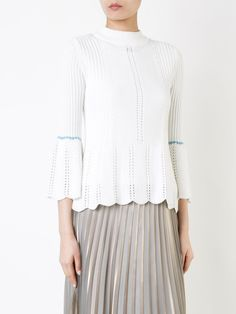 Loveless bell sleeve ribbed jumper