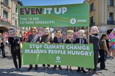 The #OxfamBigHeads highlight Oxfam's message to the #G7: #Climatechange is driving #hunger, time to kick the coal habit. And it's time to rewrite global corporate #tax rules. #EvenItUp #inequality