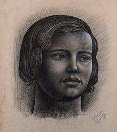 Twentieth Century British Art by Stanley Lewis: "Edith circa White Highlights, Charcoal, Art Gallery, British, Portraits, Fine Art, Female, Modern, Art Museum