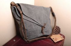 Dark gray Leather bag Genuine leather canvas bag/ by weiweihe, $39.99