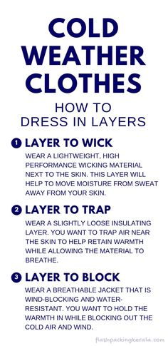 What to wear in cold weather winter. How to layer clothes for cold weather: Layering clothing for winter. How many layers to dress in? Start with the best base layer! What to wear hiking in cold weather. winter hiking tips. camping tips. Cold Weather Camping, Running In Cold Weather, Winter Running, Winter Hiking, Cold Weather Outfits, Winter Travel, Winter Camping, Kerala, Wetter Im Winter