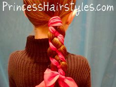 Candy Cane Braid Hairstyle - Four Strand Braid with ribbon (Starting from the left weave over - under -over)