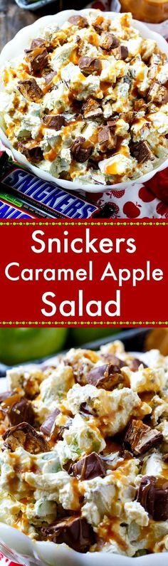 Snickers Caramel Apple Salad- the best fall potluck recipe!
