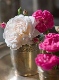Vintage silver cups with roses