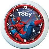 We will print your child's name on this colorful Spider-Man name clock that is guaranteed to brighten any room and make learning to tell the time fun!   Made from durable plastic with a perspex face  Clock measures 21cm in diameter  Features large easy to read numbers  Requires 1 x AA battery (not included)  Hangs easily from any hook  Maximum 12 characters including spaces  Due to the detailed personalization of this product please allow 3 to 4 weeks for delivery.