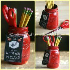 End of year teacher gift-Teacher Gift-Teacher Mason Jar-Teacher Appreciation Gift-Office-Desk-Pencil Holder-Red