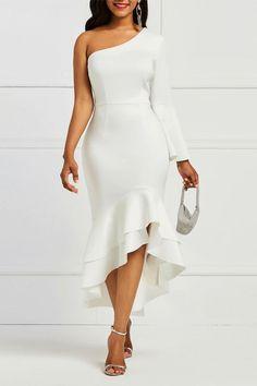 Women's Pure Color One Shoulder Women's Bodycon Dress Grad Dresses, Homecoming Dresses, Evening Dresses, Ruffle Dress, Dress Up, Bodycon Dress, White Dresses For Women, Midi Cocktail Dress, Asymmetrical Dress