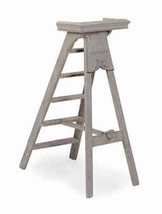 A FRENCH GREY-PAINTED PINE LADDER,