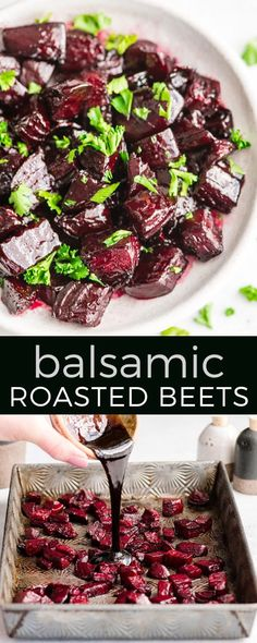 Balsamic Oven Roasted Beets Recipe Made with 5 ingredients including fresh beets, this easy Balsamic Roasted Beets recipe is a great side dish or addition to your favorite salad! They are gluten-free, dairy-free, Paleo and vegan-friendly! Side Dish Recipes, Vegetable Recipes, Vegetarian Recipes, Healthy Recipes, Vegan Beet Recipes, Beet Salad Recipes, Recipes Dinner, Vegan Side Dishes, Vegetable Dishes