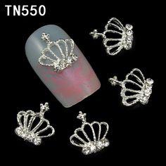 10 개/몫 중공 실버 크라운 3D 네일 아트 장식 모조 다이아몬드 손톱 합금 DIY 반짝이는 네일 도구