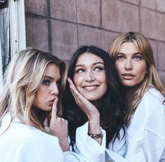 From left to right: models Stella Maxwell, Bella Hadid, Hailey Baldwin