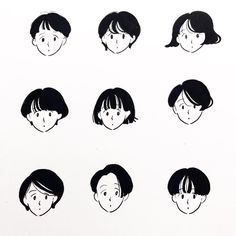 Hair texture and faces Illustration Sketches, Character Illustration, Art Sketches, Illustrations, Drawing Cartoon Faces, Cartoon Art, Doodle People, Korean Art, Character Design Animation