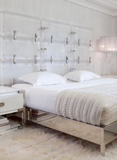 Daun Curry Interior Design.  Toby Bed by Modern Declaration: LUCITE AND CHROME BED - Mirror polished chrome, Jewel cut lucite, available in a variety of metal finishes.