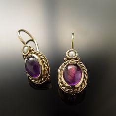 Jewelry Design Earrings, Purple Earrings, Gold Earrings Designs, Amethyst Earrings, Bridal Earrings, Gemstone Earrings, Gold Designs, Pearl Earrings, Vintage Silver Jewelry