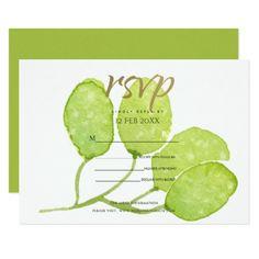 #TROPICAL GREEN WATERCOLOUR FOLIAGE LEAF  RSVP CARD - #barn #wedding #rustic #invitation #cards #party #ideas